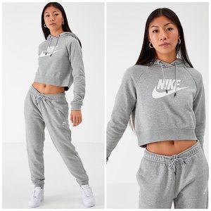 Nike Gray Crop Hoodie